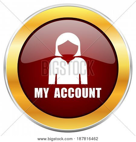 My account red web icon with golden border isolated on white background. Round glossy button.