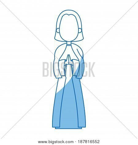 saint virgin mary holy religious image cartoon vector illustration