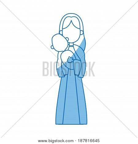 virgin mary holding baby jesus catholic image vector illustration