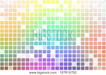 Light rainbow occasional opacity vector square tiles mosaic over white background