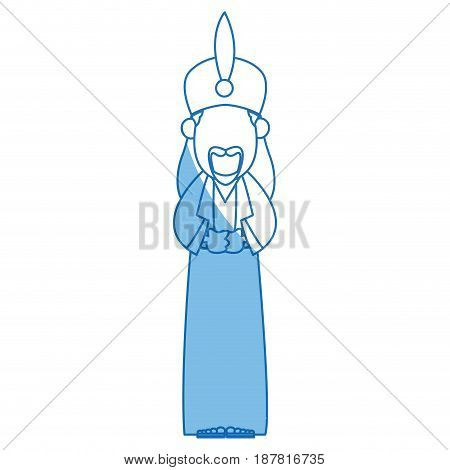 cartoon man king of orient manger nativity vector illustration