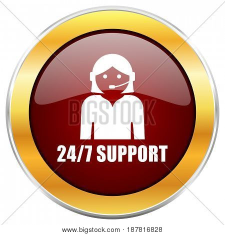24/7 support red web icon with golden border isolated on white background. Round glossy button.