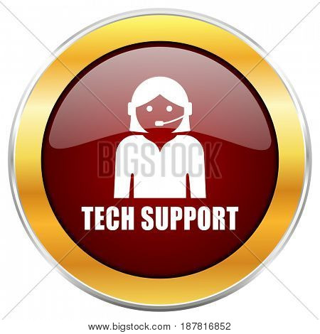 Support red web icon with golden border isolated on white background. Round glossy button.