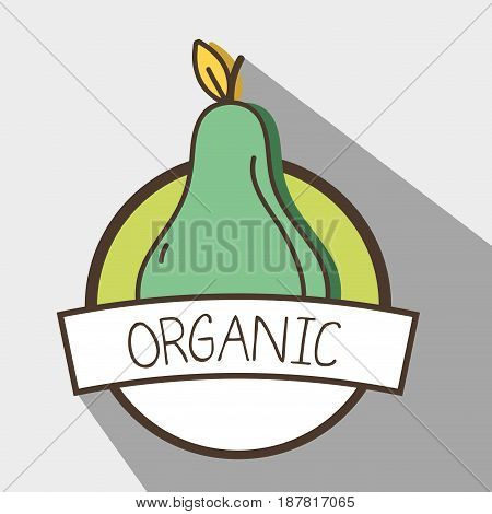 fresh pear organ fruit symbol, vector illustration