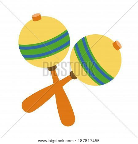 maraca instrument brazilian music percussion vector illustration