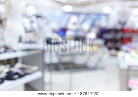 Abstract blur Shoe shop luxury shopping mall and retail interior for background