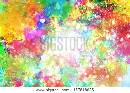 Background of explosion of shiny colored liquid colors