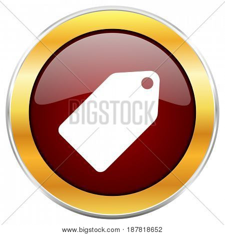 Label ticket red web icon with golden border isolated on white background. Round glossy button.