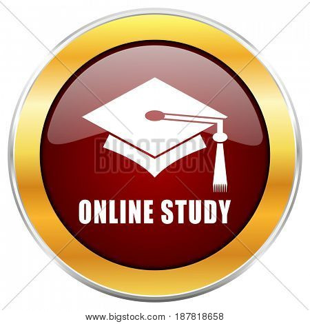 Online, study red web icon with golden border isolated on white background. Round glossy button.