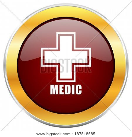 Medic red web icon with golden border isolated on white background. Round glossy button.