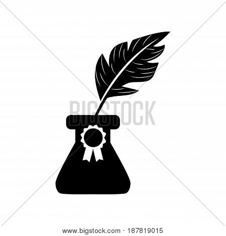contour cute inkpot with feather to writing manuscript, vector illustration