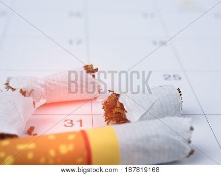 Broken Cigarette, And Calendar May. World No Tobacco Day Concept.