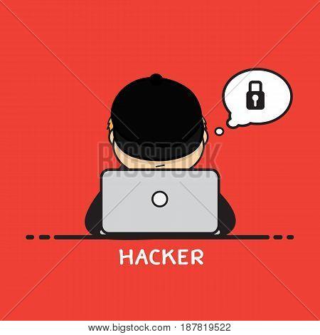 Hacker cartoon design for computer business .