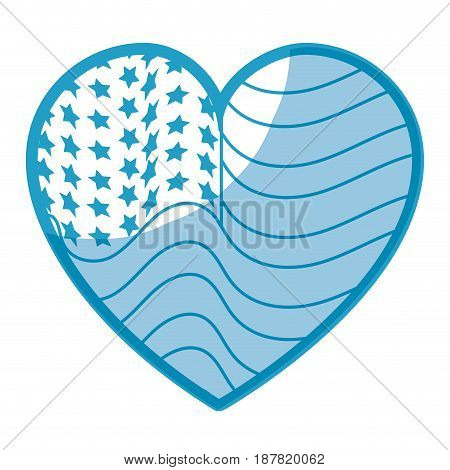 silhouette nice heart with usa flag inside, vector illustration