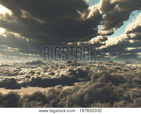 Sunlight through clouds.  3D rendering