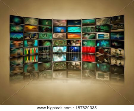 Wall of TV's screens.  3D rendering    Some elements courtesy of NASA