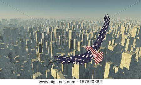 Eagle flies above megalopolis.    3D rendering