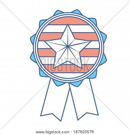 emblem with star inside and ribbon design, vector illustration