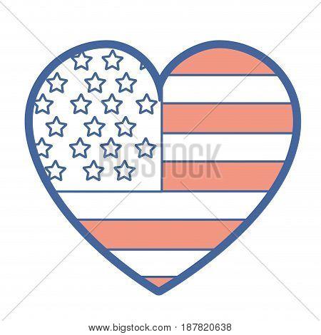 nice heart with usa flag inside, vector illustration