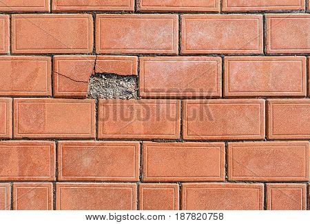 Paving Stone-color Of Red Clay With One Dilapidated Site