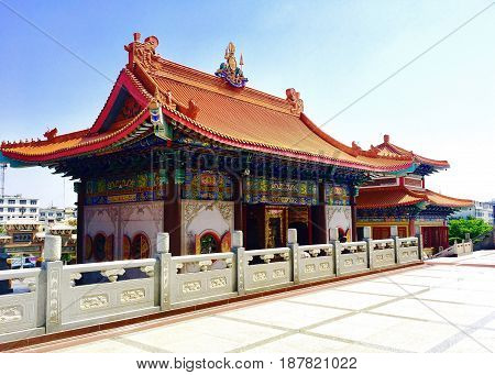 Traditional Chinese Decorated Buddhist Temple or Monastery in Chinese Style in Thailand. Wat Borom Raja Kanjanapisek (Wat Leng Neur Yee 2)