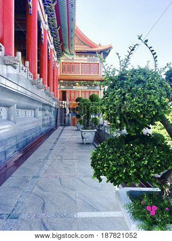Traditional Chinese Buddhist Temple or Monastery in Thailand with Beautiful Bonsai Trees. Wat Borom Raja Kanjanapisek (Wat Leng Neur Yee 2)
