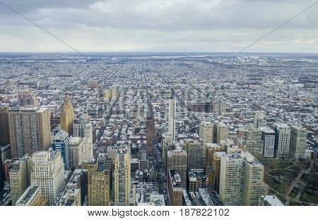 Aerial view over the city of Philadelphia  -  2017