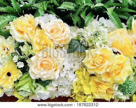 Background of Yellow Blossom Roses and Daisy Flowers Bouquet for Home and Office Decoration without The Care.