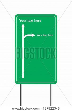 Vector illustration of a road sign with areas for custom text.