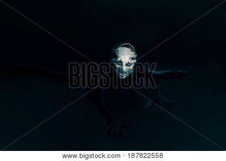 Monster or alien crawls toward you on black background. It has Octopus tentacles on face