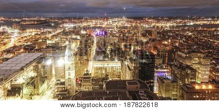 The city lights of Philadelphia - aerial view at night  -  2017