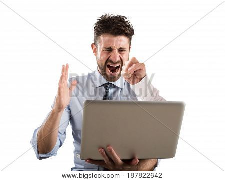 Man gets a punch from the screen of his computer. Cyber bullying concept