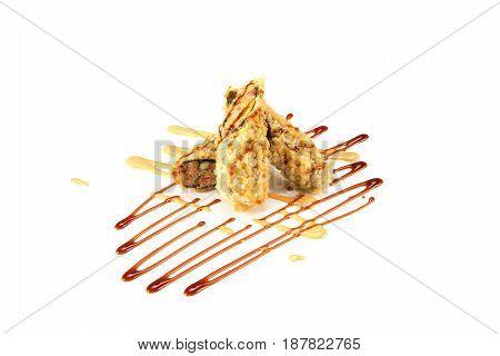 deep fried crispy BC roll on white