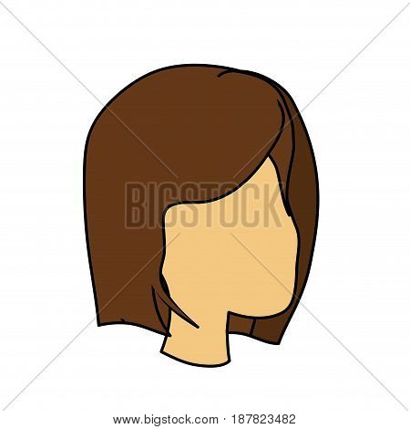 beauty woman face with hairstyle, vector illustration