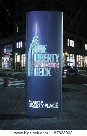 One Liberty Observation Deck in Philadelphia  -  2017