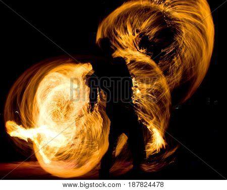 Orange Flames Night Performance