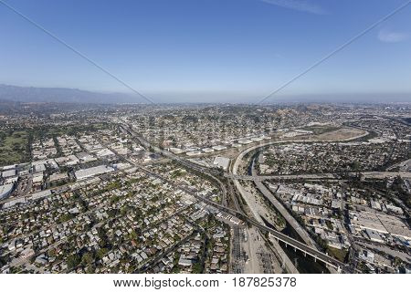 Aerial view of the Los Angeles River at the Glendale Freeway in Southern California.