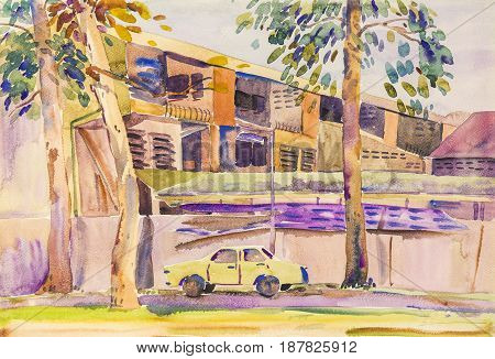 Watercolor painting landscape original colorful of building old car vintage living with nature in sky and cloud background. Painted illustration.
