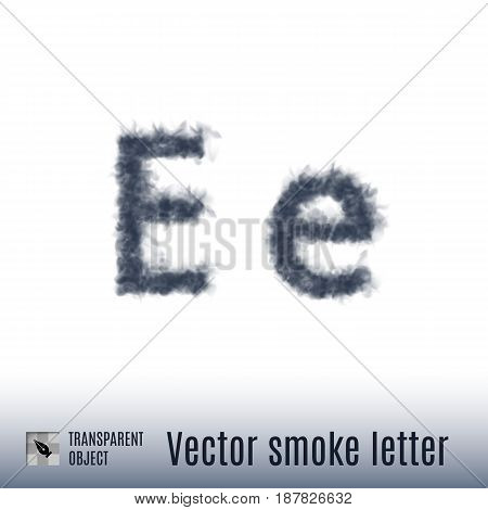 Smoke in Shape of the Letter E on White Background