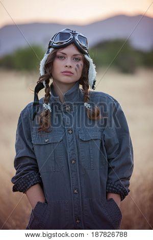 retro vintage woman pilot