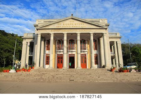 Bangalore, Karnataka, India - December 13, 2015: Bangalore Town Hall is a neoclassical municipal building in Bangalore, India named after the philanthropist Sir K.P Puttanna Chetty.