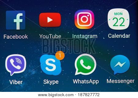 Social Media Icons On Screen