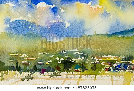 Abstract watercolor landscape original painting colorful of mountain view cornfield hillside village and emotion in sky cloud background