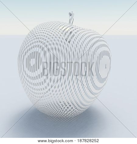 3d render. Apple made of white  3D rendering