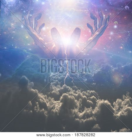 Surrealism. Hands of God in the sky.  3D rendering     Some elements courtesy of NASA