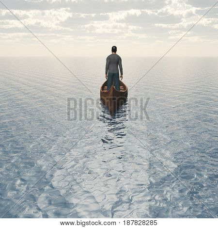 Man in boat floats to bright horizon.  3D rendering