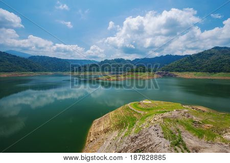 Landscape Mountain And River Of Khun Dan Prakarn Chon Dam In Nakhon Nayok, Thailand