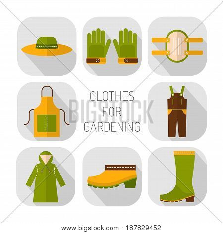 Protective clothing for working in the garden. Flat icons, objects of work clothing.
