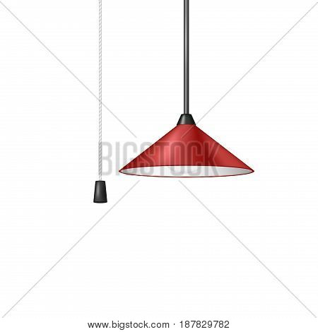 Retro hanging lamp in red design with black and white cord switch on white background