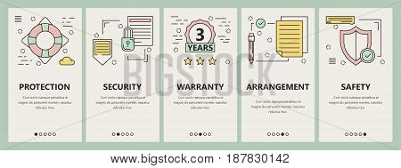 Vector set of insurance concept vertical banners. Protection, Security, Warranty, Arrangement and Safety templates. Modern thin line flat design elements, symbols, icons for website menu, print.